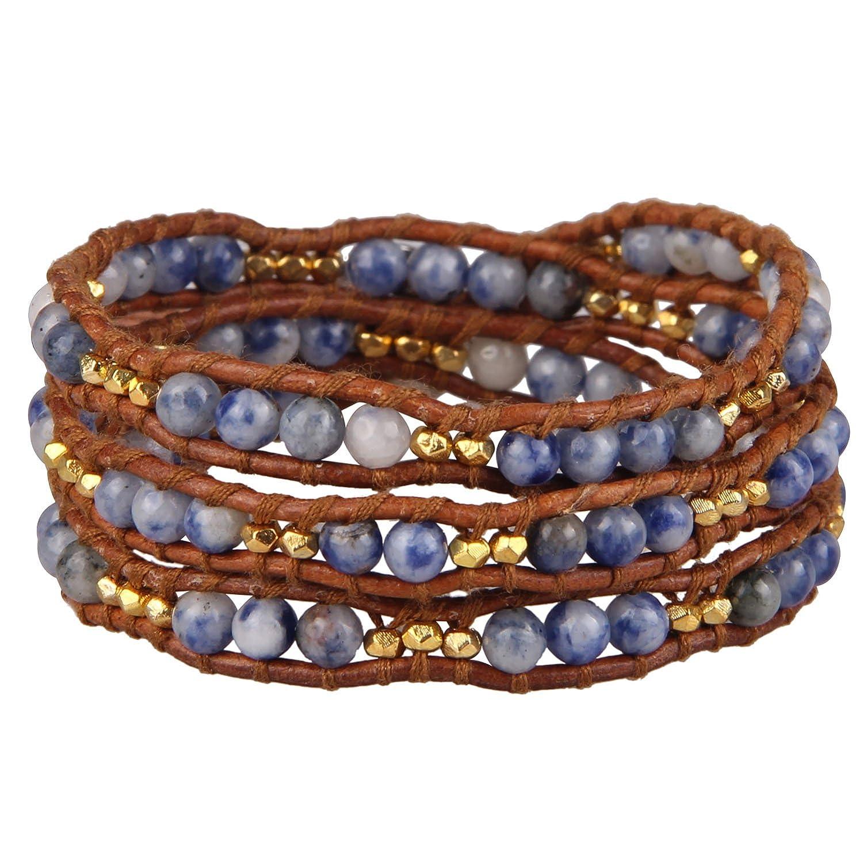 KELITCH Crystal Beads Genuine Leather Woven 3 Wrap Bracelet Handmade Fashion Women Jewelry AZ3W-15021K