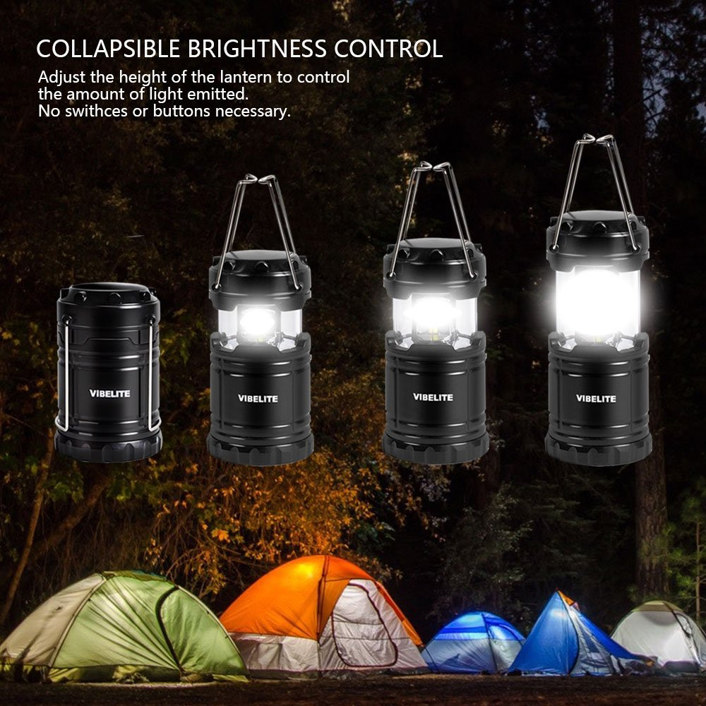 VIBELITE Led Lantern,Camping Lantern Collapsbile COB light with 12 AA Batteries Survival Kit for Emergency IP54 for Hiking Emergencies Hurricanes 4 Pack Black by VIBELITE (Image #3)