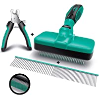 Ruff 'n Ruffus Self-Cleaning Slicker Brush + 2 Free Bonuses | 7.5″ Steel Comb + Pet Nail Clippers | Grooming Supplies Great for Cats Dogs & All Breeds & Hair Types