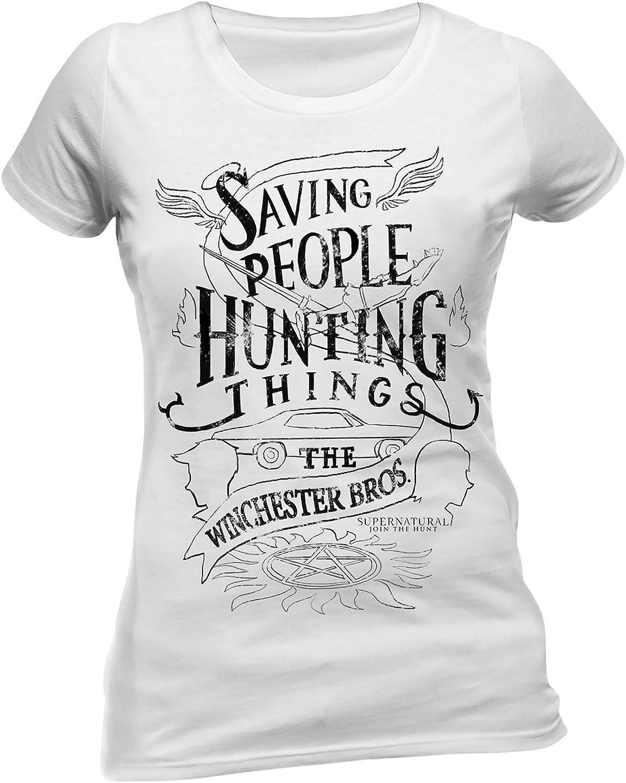 Sobrenatural Camiseta de Las señoras de algodón Blanco y Salvar a la Gente de Caza Cosas Winchester Bros: Amazon.es: Ropa y accesorios