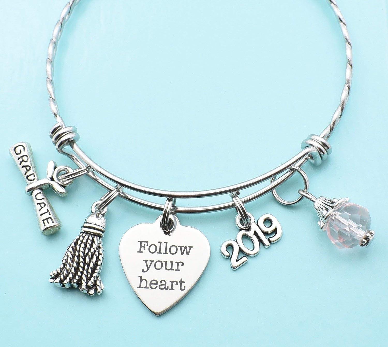 1f1f7543b Amazon.com: Teen or Womans Graduation Bracelet in Silver Tones. High School  Graduation Gift. Follow Your Heart. College Graduation Gift: Handmade