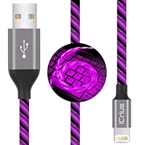 iCrius iPhone Charger Cable, MFi Certified 6ft LED Light Up Visible Flowing Lightning Charger Charging Cord Compatible with iPhone12 Plus/XS/XR/X /8 Plus / 8/7 Plus / 7, iPod Touch More (Purple)