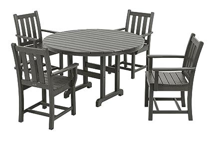 POLYWOOD PWS134 1 GY Traditional Garden 5 Piece Dining Set, Slate Grey