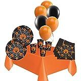 KIt Decorazione Festa Halloween Coordinato Tavola Piatti + Bicchieri + Tovaglia + Tovaglioli + Palloncini