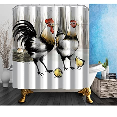 """Watercolor Cock Rooster Shower Curtains Bathroom Waterproof Polyester Fabric 71/"""""""