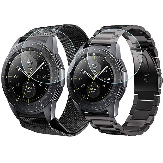 CAGOS Compatible Galaxy Watch (42mm) Band Sets, 20mm 2 Pack Stainless Steel Band+ Mesh Band Bracelet Strap for Samsung Galaxy Watch 42mm/ Gear ...