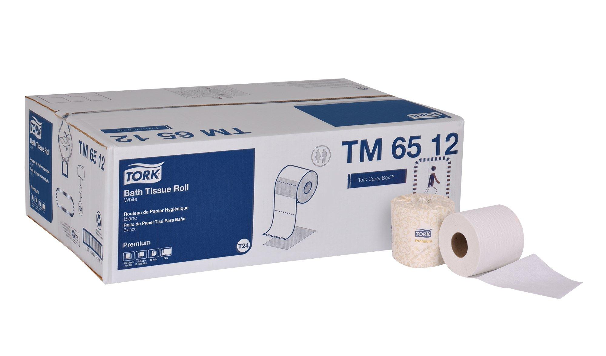 Tork Premium TM6512 Bath Tissue Roll, 2-Ply, 4'' Width x 3.75'' Length, White (Case of 48 Rolls, 460 per Roll, 22,080 Sheets)