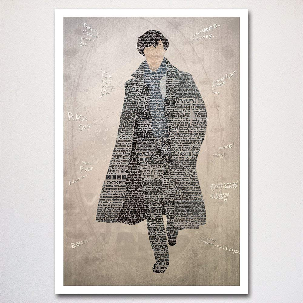 Sherlock word art poster | typography art | made from quotes | Benedict Cumberbatch art piece | wall home décor