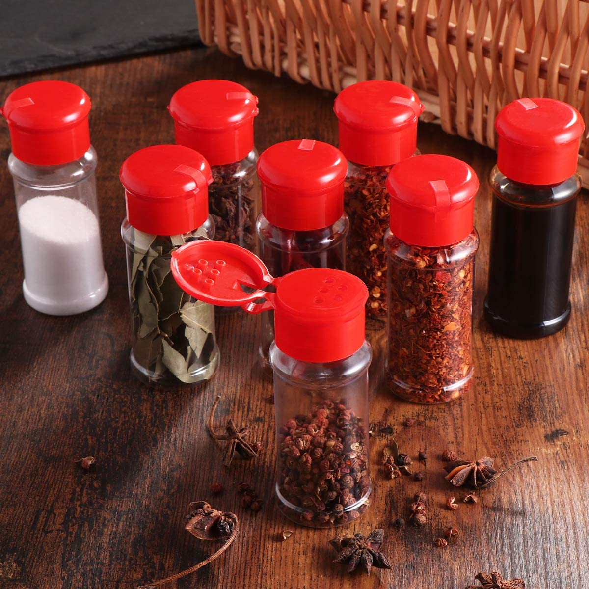 Herbs and Powders BESTONZON Plastic Spice Jar 12Pcs Salt Pepper Shakers Seasoning Jar Barbecue Condiment Jar Bottles Cruet Container,Perfect for Storing Spice Red
