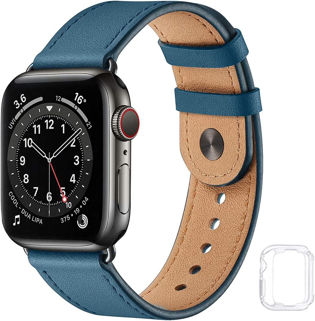 Soft Leather Bands Compatible with Apple Watch Band 38mm 40mm 42mm 44mm, Special Watch Band Replacement Strap for Women Men for iWatch SE Series 6 5 4 3 2 1 (Olympic Blue with Black, 38MM/40MM)