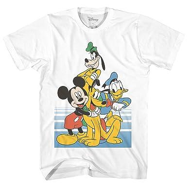 2e184d50 Amazon.com: Disney Classic Group Pose Mickey Mouse Donald Duck Goofy Pluto  Disneyland World Funny Graphic Adult Men's T-Shirt: Clothing