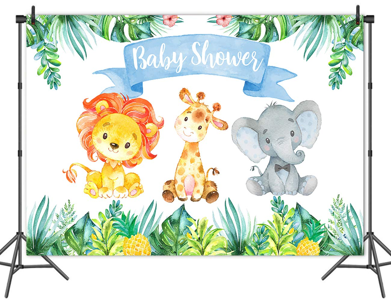 Amazon Com Mehofoto Safari Jungle Baby Shower Backdrop Elephant