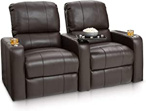 Seatcraft Millenia Home Theater Seating - Top Grain Leather - Manual Recline - Stainless Steel Cupholders - Swivel Trays (Row of 2, Brown)