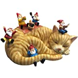By Mark & Margot - Outdoor Garden Gnomes Picnic Sleeping Cat Statue - Beautiful Funny Novelty Gift (One Size, Blue)