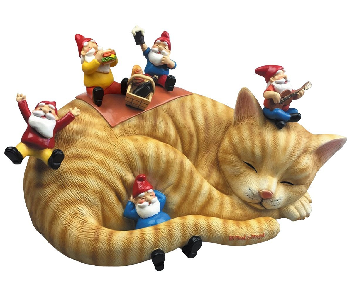 By Mark & Margot Outdoor Garden Gnomes Picnic Sleeping Cat Statue - Beautiful Funny Novelty Gift