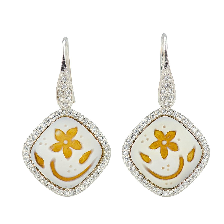 Floral Cameo Earrings - A Floral/Fantasy Sardonyx Shell Cameo Earrings 20x20mm