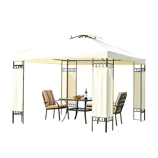 Outsunny 3m X Garden Gazebo Party Tent Marquee Canopy Pavilion Shelter Steel Frame Cream
