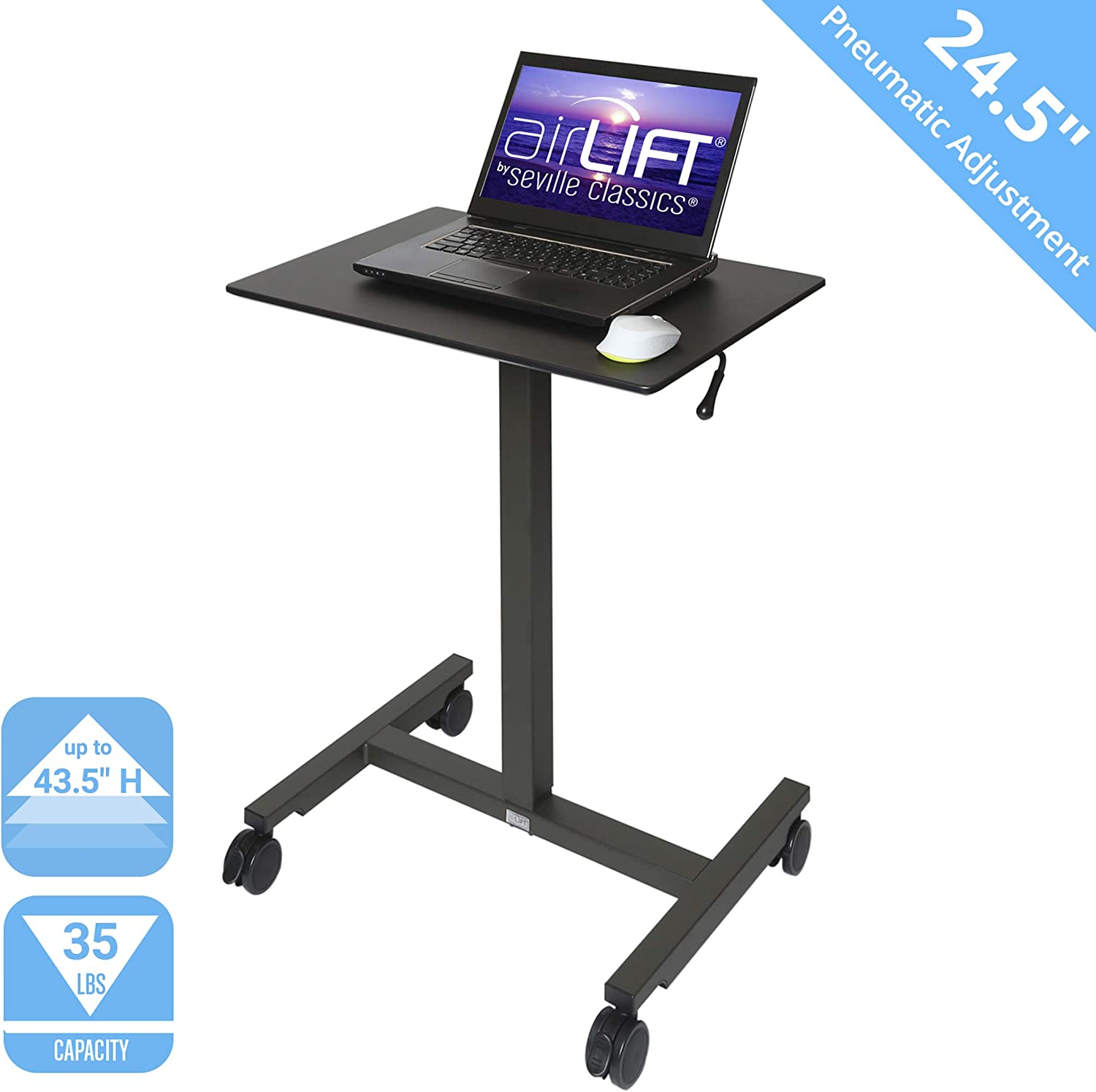 "Seville Classics OFF42631 Airlift 24.5"" Pneumatic Height Adjustable Sit-Stand Mobile Laptop Computer Desk Cart (29.3"" to. 43.5"" H), 24"", Black"