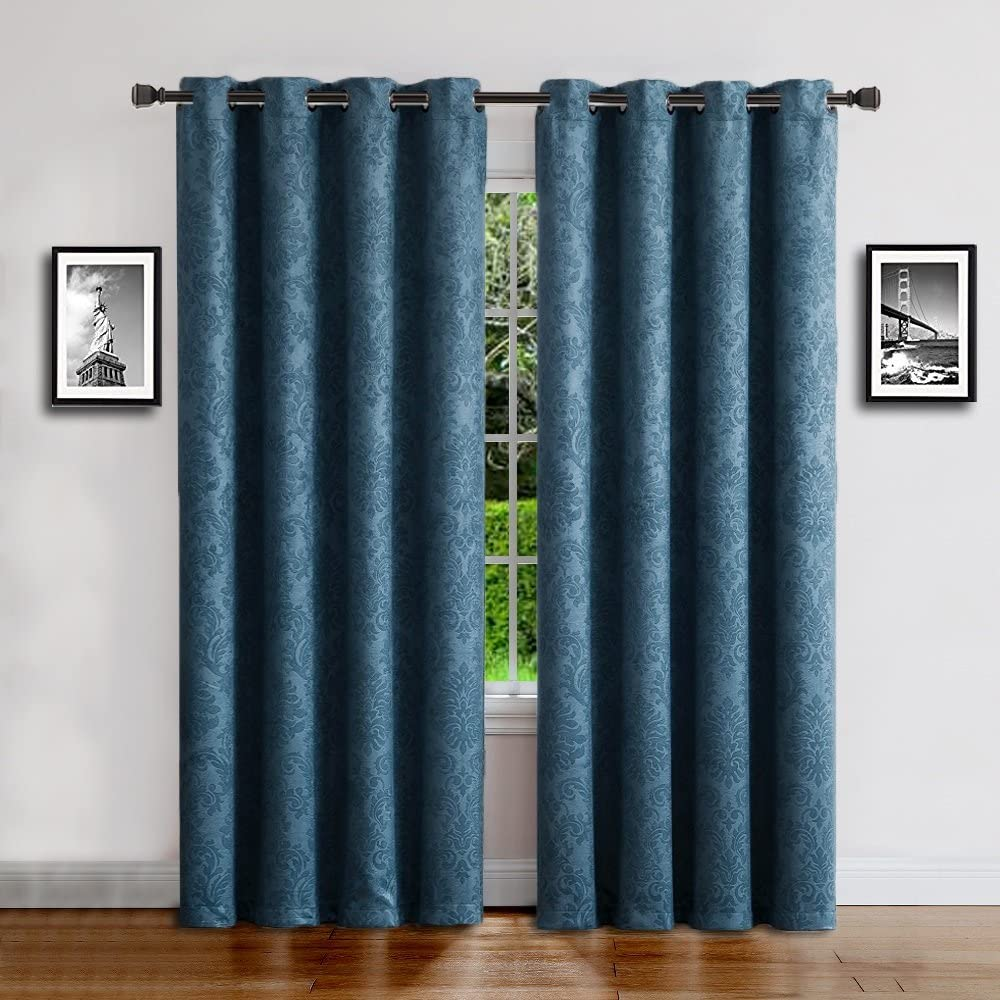 "WARM HOME DESIGNS 1 Panel of Standard Size Blue Teal 54"" (Width) by 84"" (Length) Textured Room Darkening Curtains with Embossed Damask Flower Pattern. Drapes Allow Privacy, Reduce Noise. EV Teal 54x84"