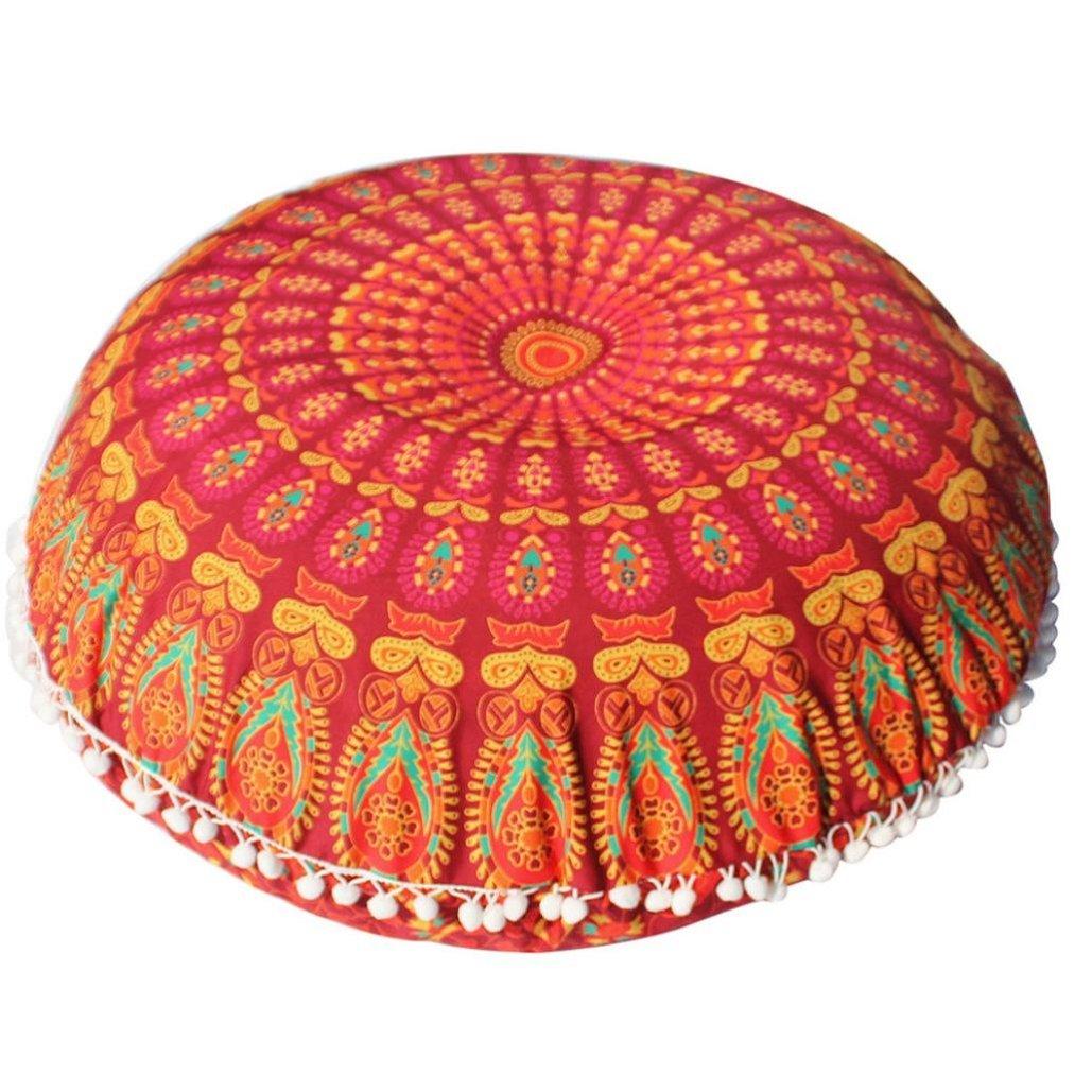 80× 80CM Large Mandala Floor Pillows Round Bohemian Meditation Cushion Cover Ottoman Pouf , Tuscom (1) CYT72370632