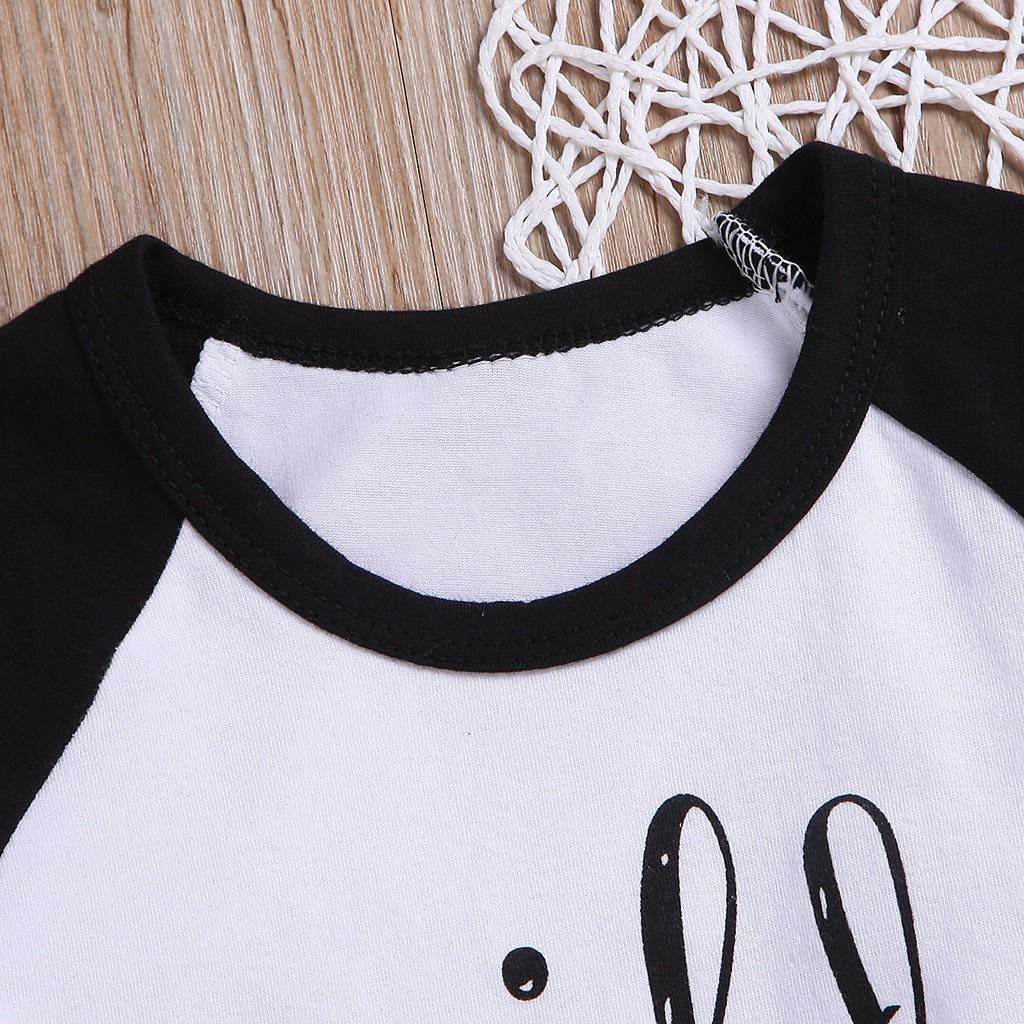 SUNBIBE Baby Girls Boys Outfits Letter Long Sleeve Pullover T-Shirt Tops Plaid Pants Trousers Christmas Sets Pajamas Set