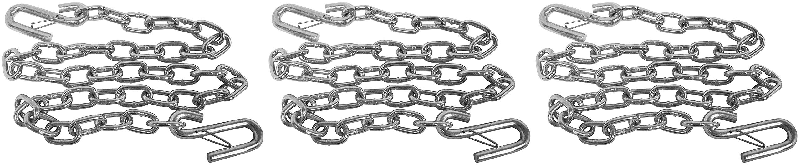 attwood 11011-7 Heavy-Duty 51-inch Steel Trailer Safety Chain with Spring Clip Hooks (Тhrее Расk) by attwood