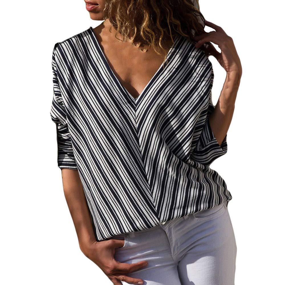 Maonet Women Casual Striped Print Fashion Long Sleeve T-Shirt Tops Blouse (XL, Blue)