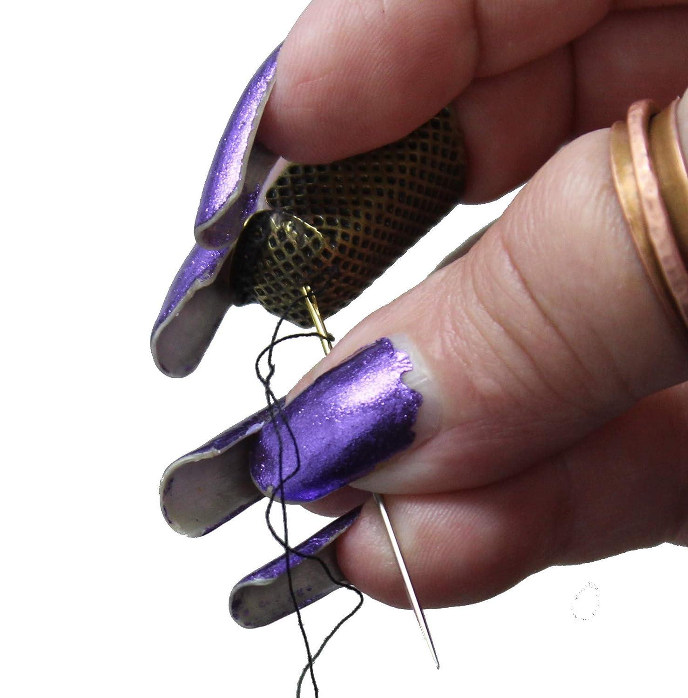 Ideal for Long Fingernails Little House Adjustable Tortoise Thimble Medium Lightweight Brass Metal