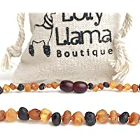 Lolly Llama Raw Amber Necklace (Unisex) Alternative Pain Relief - Certified Genuine Baltic Amber Necklace - Tri-Color
