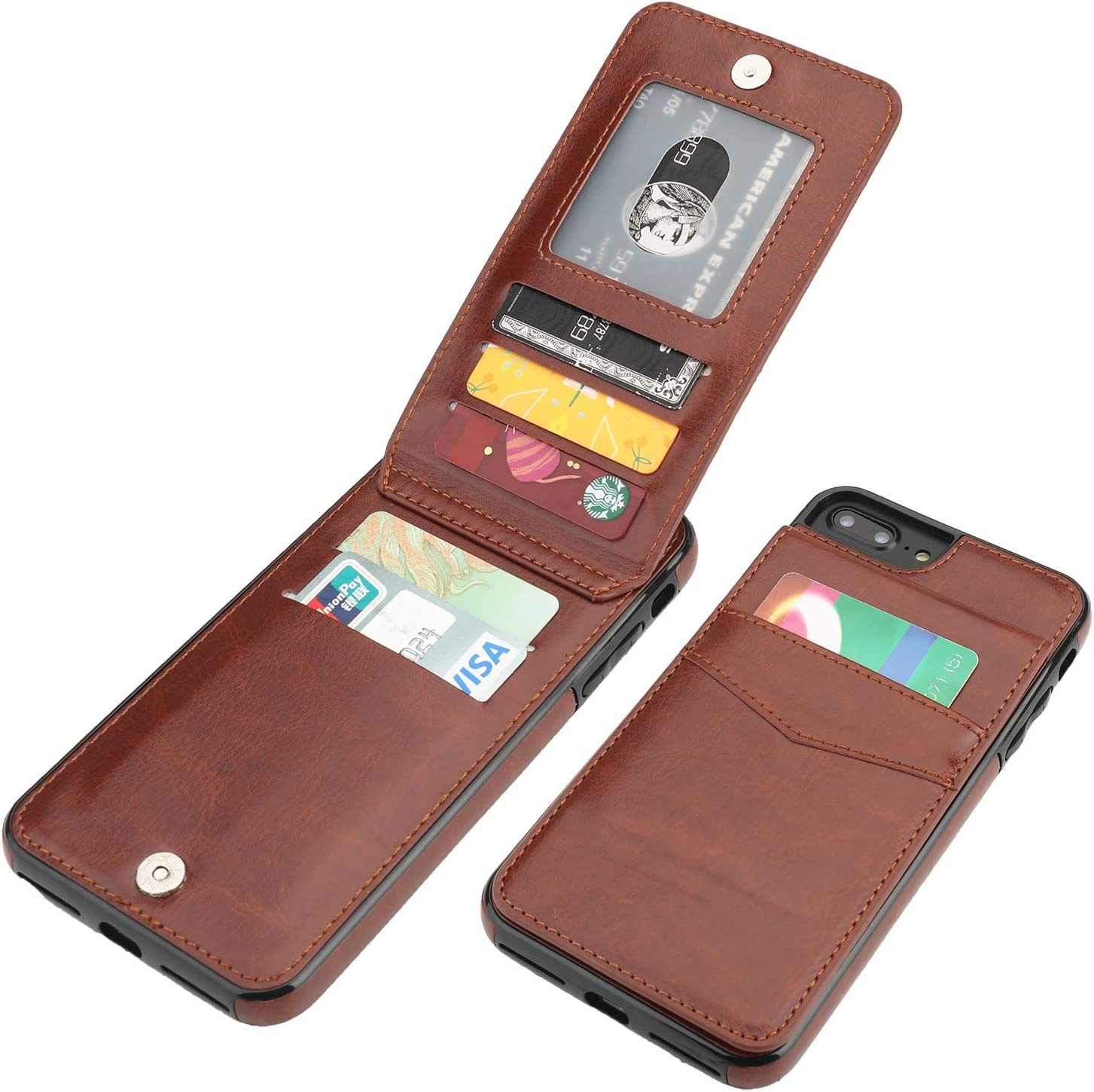 KIHUWEY iPhone 7 Plus iPhone 8 Plus Case Wallet with Credit Card Holder, Premium Leather Magnetic Clasp Kickstand Heavy Duty Protective Cover for iPhone 7/8 Plus 5.5 Inch(Brown)