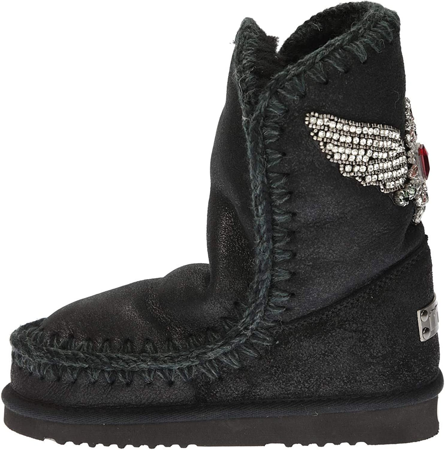 Mou Eskimo 24 Ankle Boot in Black Metallic Leather with Eagle 71pGbapf2CLUL1500_