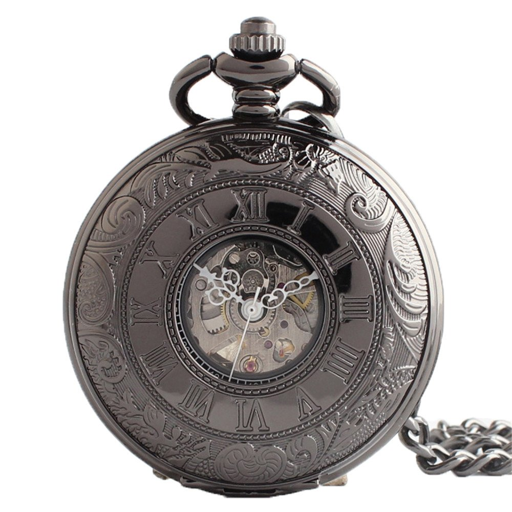 Zxcvlina Classic Smooth Exquisite Roman Numberals Retro Black Mechanical Pocket Watch with Chain for Unisex Suitable for Gift Giving