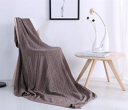 yevem algodón manta de punto, Cozy Reversible manta de sofá ...