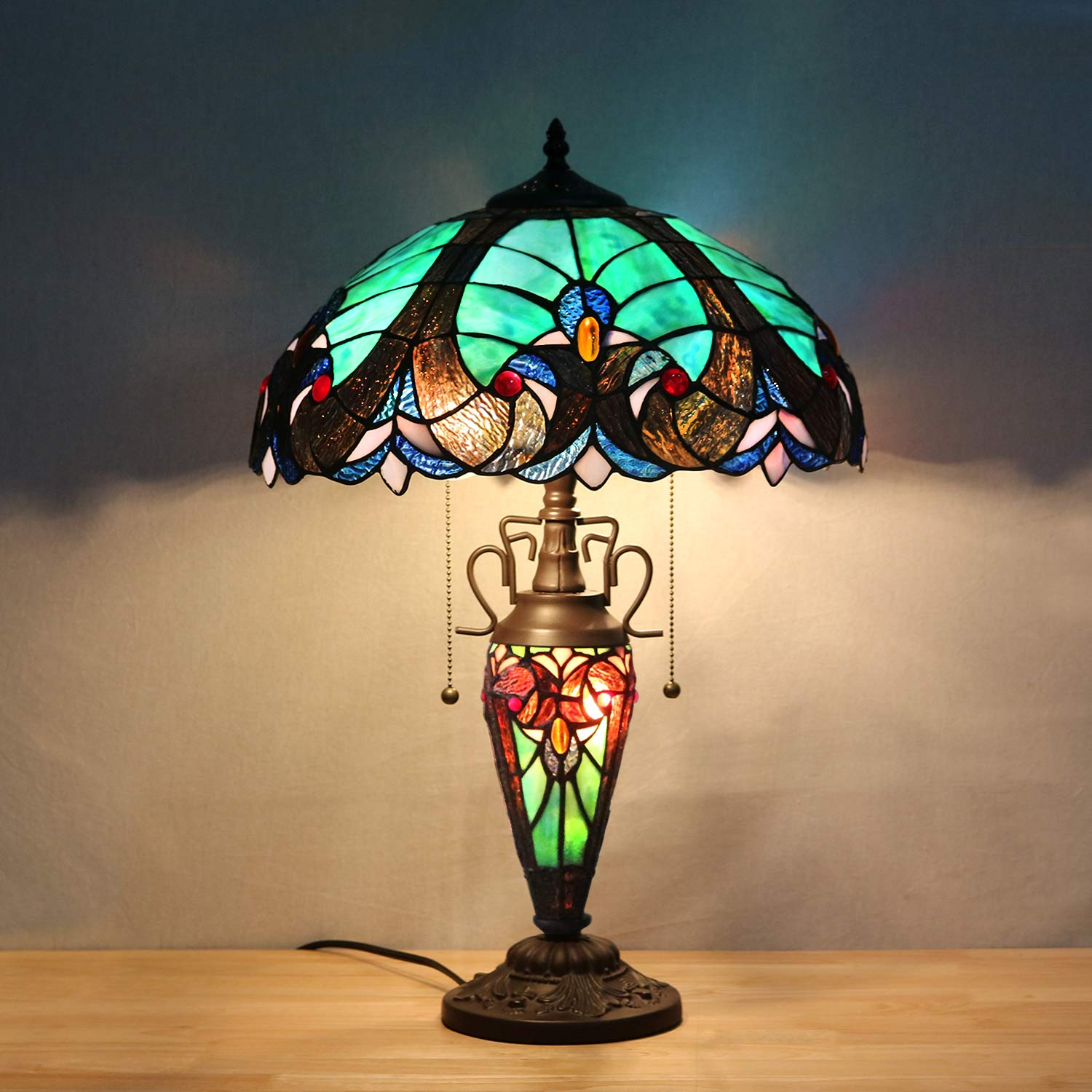 Amazon.com: JOO LIFE Tiffany Style Table Lamp 3 Light Double ...