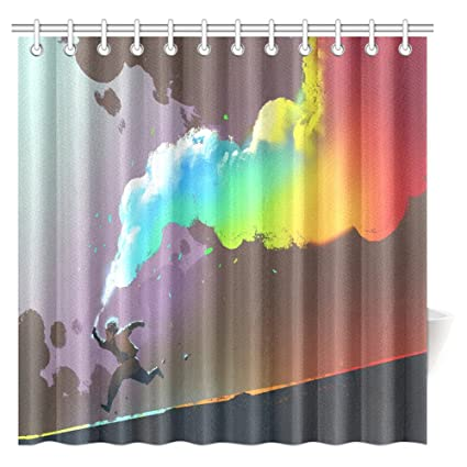 InterestPrint Fantasy Art Shower Curtain Boy Running And Holding Up Colorful Smoke Flare Bathroom