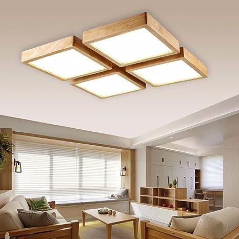 Salon comedor de madera maciza, lampara de techo, lampara ...