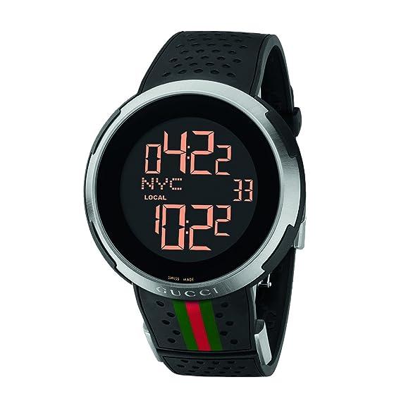 Gucci Reloj YA114103 acero inoxidable caso caucho Correa Dial Digital Negro: Amazon.es: Relojes
