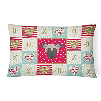 Caroline's Treasures CK5182PW1216 Argentine Pila Dog Love Canvas Fabric Decorative Pillow, 12H x16W, Multicolor : Garden & Outdoor