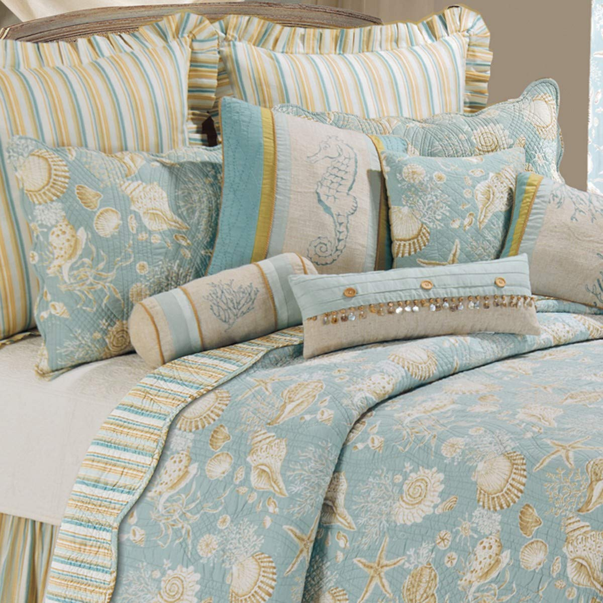C&F Home Natural Shells Full/Queen Quilt 90x92 - Coastal Theme
