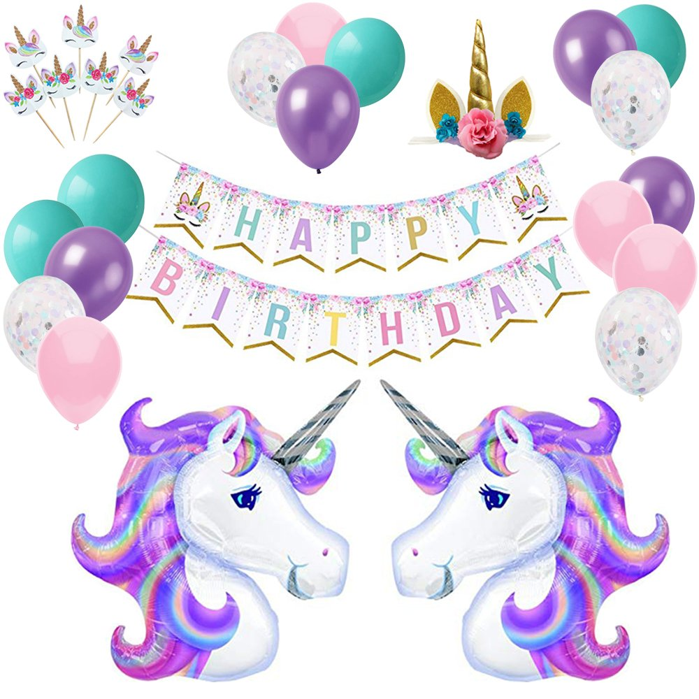 YAYJOY 58Pcs Unicorn Birthday Party Decoration Set, Huge Unicorn Balloons, Happy Birthday Banner, Gold Unicorn Headband, Unicorn Cake Toppers,Latex Balloon