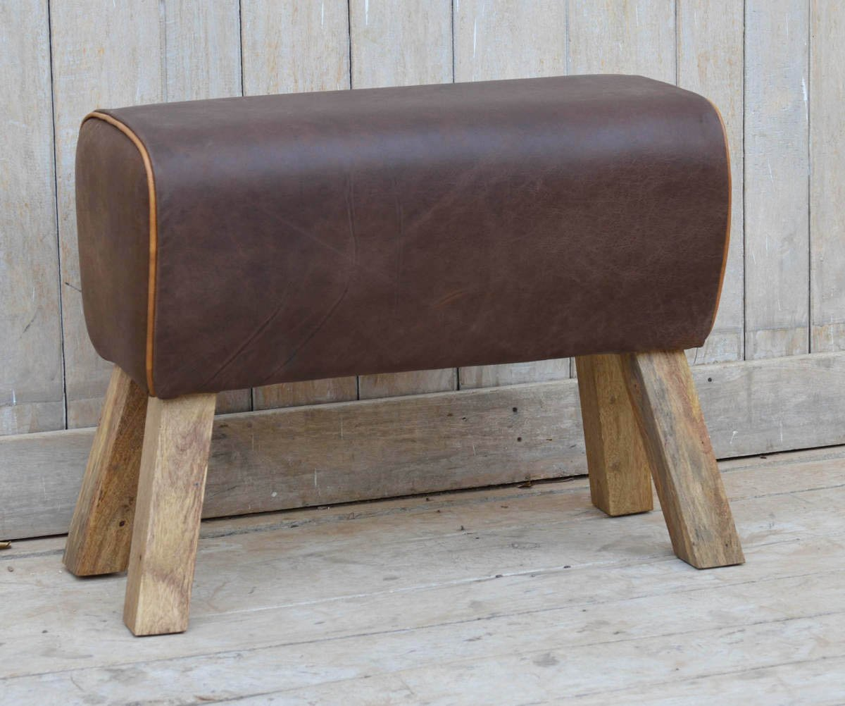 NACH vv-5311 28x11x20 Rustic Wood and Leather Foot Stool