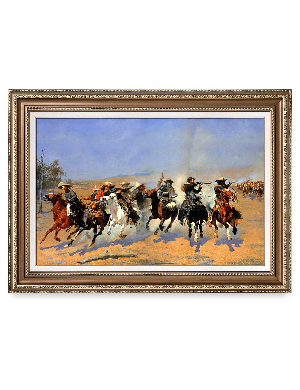 DecorArts - A Dash for the Timber, Frederic Remington Classic Art Reproductions. Giclee Prints& Museum Quality Framed Art for Wall Decor. Framed size: 25x35''