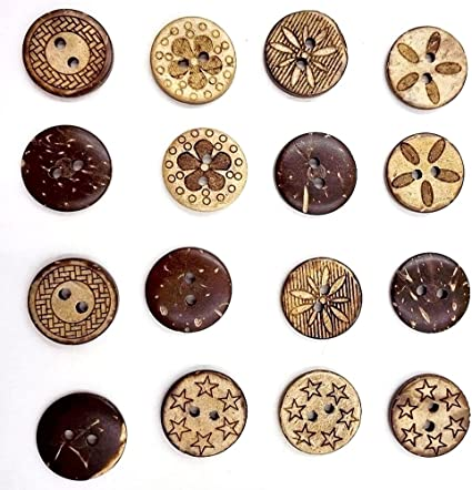 HOUSWEETY 100 Mixed Pattern Coconut Shell 2 Holes Sewing Buttons Scrapbooking 18mm