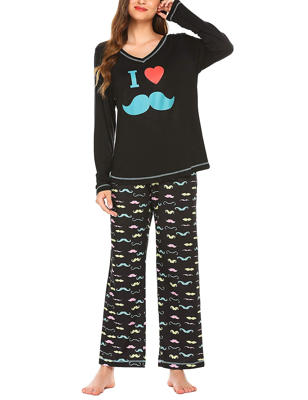 Ekouaer Pajamas Set Long Sleeve Sleepwear Womens Cute Print V-Neck Nightwear Soft Pjs