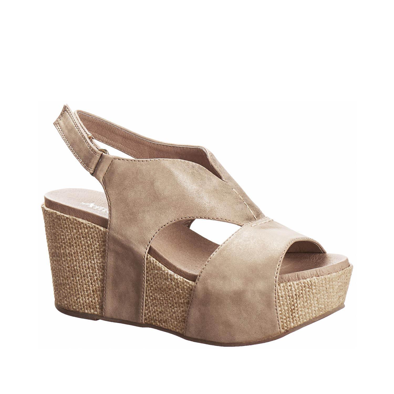 Antelope Women's 855 Gold Metallic Leather V Cut Texture Sandals 39