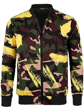 6b2ff01bb04e1 Lars Amadeus Men Bomber Jacket Camo Printed Zipper Lightweight Casual Coat  Jackets S Green