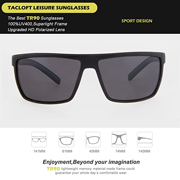 b619f293863 Amazon.com  Tacloft Polarized Sunglasses for Men Driving Glasses Shades  62mm TR008 (Black Blue Frame Black Lens)  Shoes