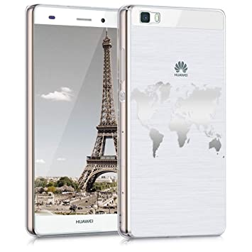 kwmobile Funda para Huawei P8 Lite (2015) - Carcasa Protectora de [TPU] con diseño de Mapa del Mundo en [Plata/Transparente]