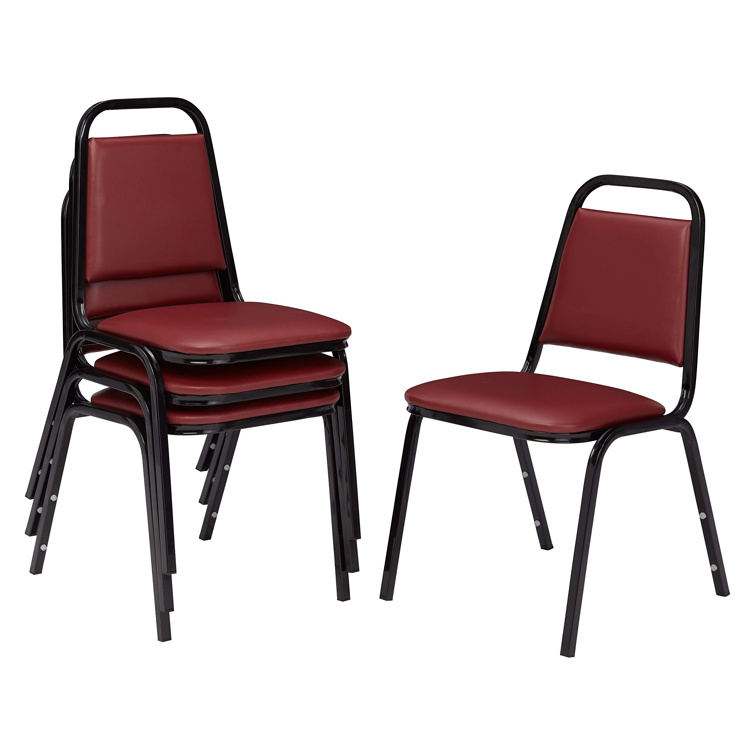 NPS 9108-B-CN Vinyl-upholstered Standard Stack Chair, 300-lb Weight Capacity, 16'' Length x 15-3/4'' Width x 33'' Height, Burgundy (Carton of 4)