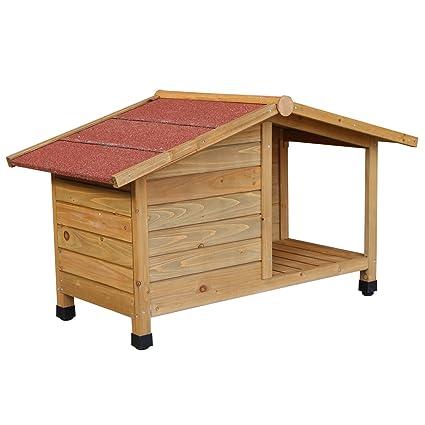 Caseta perro perrera gatera camadas casa roedores pequeños animales madera terraza balcón jardín: Amazon.es: Jardín